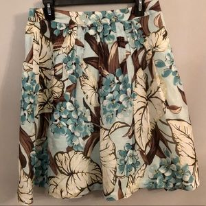 Loft Silk Linen Hydrangea Skirt Teal Brown